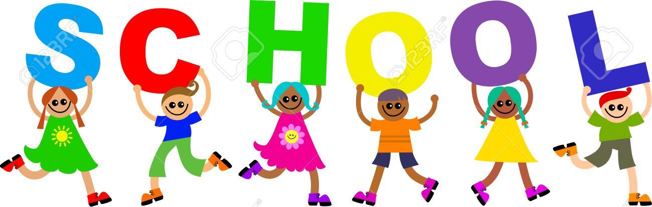 5697537-gruppo-di-bambini-felici-e-vari-lettere-che-formano-la-parola-scuola-in-mano-archivio-fotografico